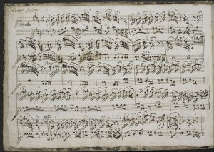 Emanuele Barbella: Sonata I from Sei Sonate à violino Solo, è Cembalo (in the composer's hand). British Library, Add. MS 56102, f. 1v. Photograph © The British Library. This manuscript is described in the RISM music manuscripts database, http://www.r